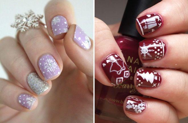 ideje Novogodišnje manikure za kratke nokte
