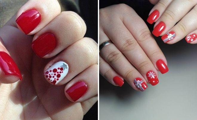 Crveni Novogodišnji manikir za kratke nokte