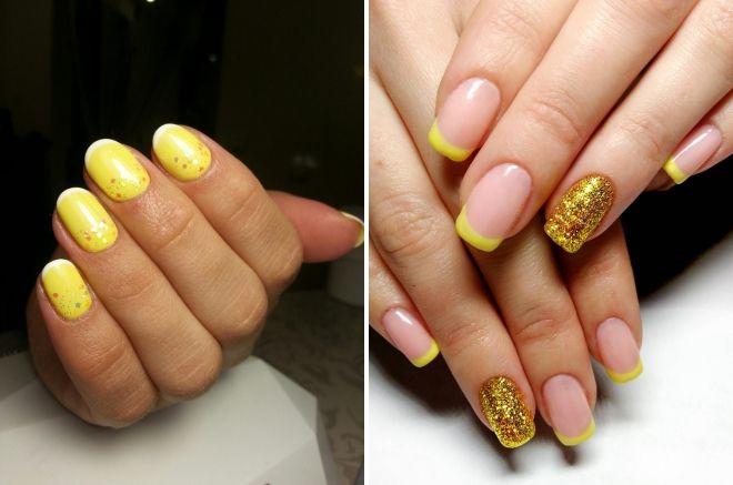 žuti božićni manikir za kratke nokte