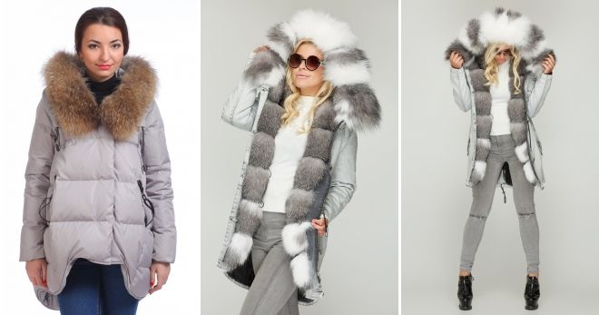 Gray down jacket with fur with jeans