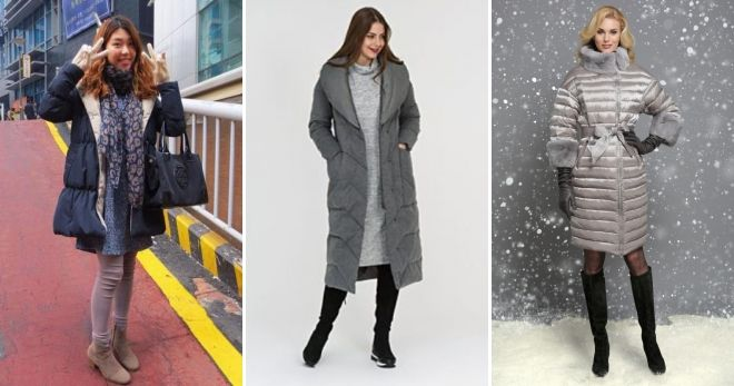 Gray down jacket with fur with a dress