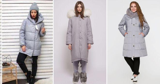 Gray down jacket