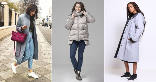 Gray down jacket with what to wear