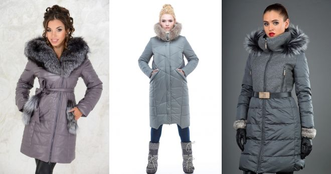 Gray down coat with fur