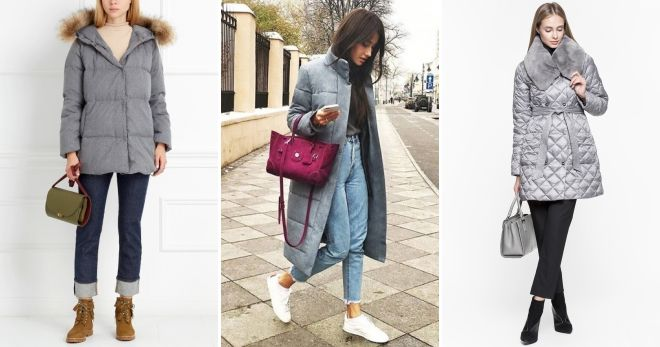 Shoes to gray down jacket