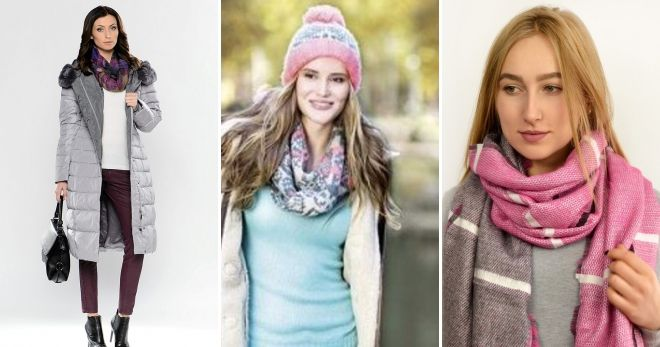 Scarf to gray pink down jacket