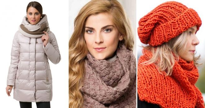 Scarf to gray down jacket