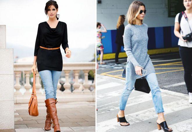зимняя туника с джинсами
