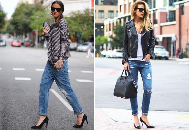 черные лодочки и джинсы