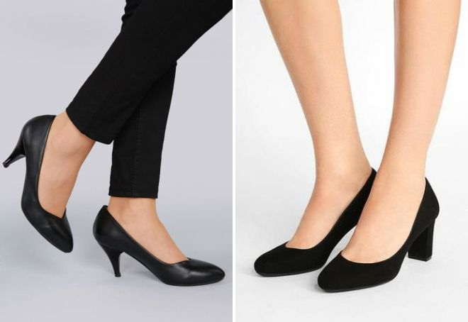черные туфли лодочки на среднем каблуке