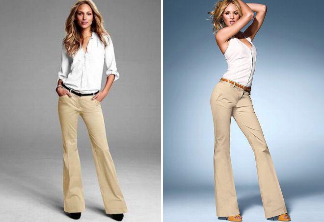 бежевые брюки клеш