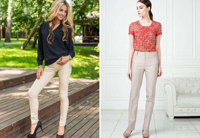 блузка под бежевые брюки