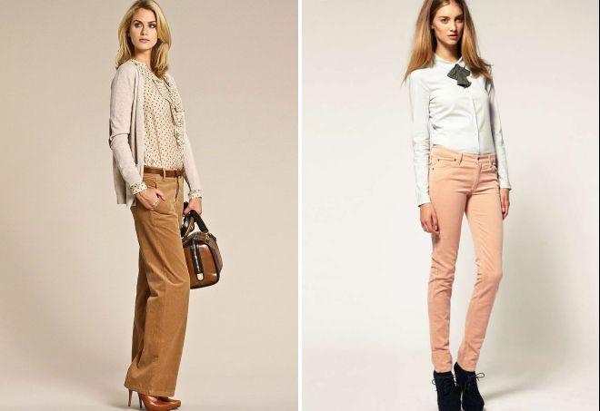 женские бежевые брюки