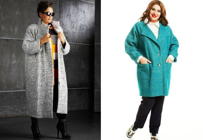 пальто оверсайз на полных женщинах