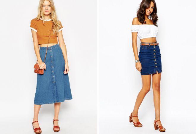 джинсовая юбка с пуговицами спереди 2017