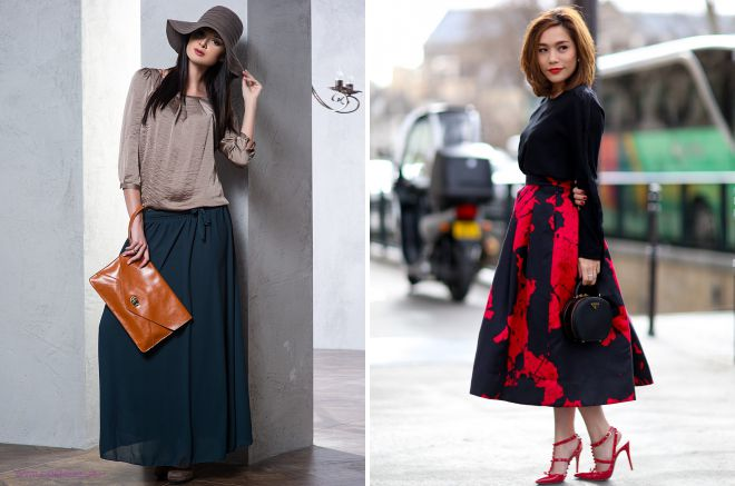 стильные фасоны длинных юбок