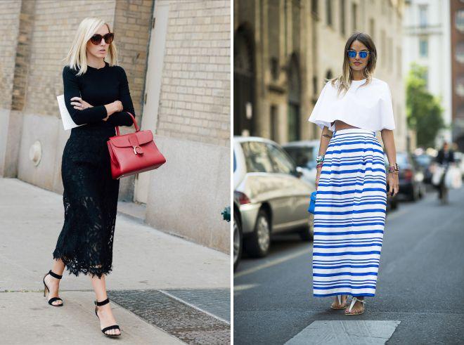 модные образы с длинной юбкой