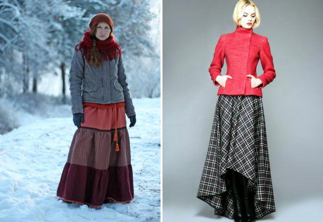 длинные юбки зимние фасоны