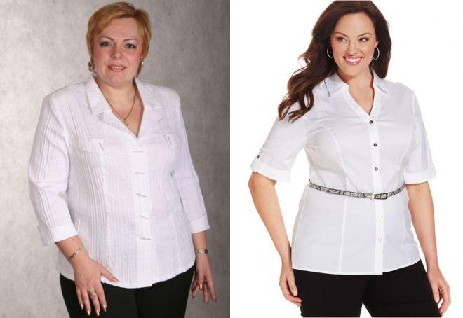 белая блузка для полных женщин