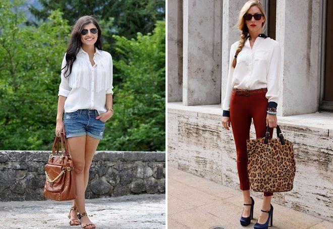 белая блузка с чем носить