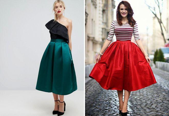 пышная атласная юбка