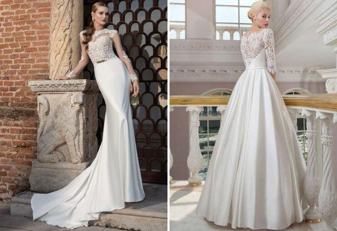 свадебное платье атласная юбка и кружевной верх