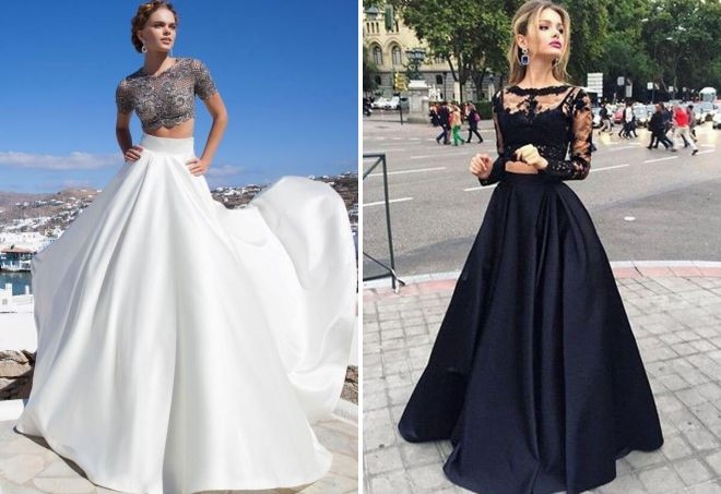 атласная юбка в пол и кружевной топ