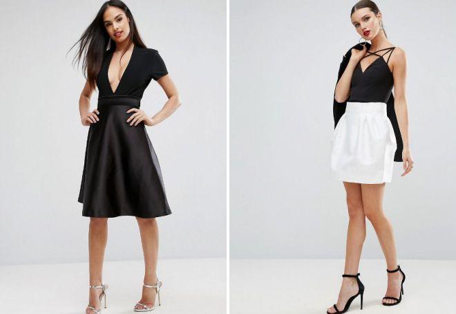 модная атласная юбка