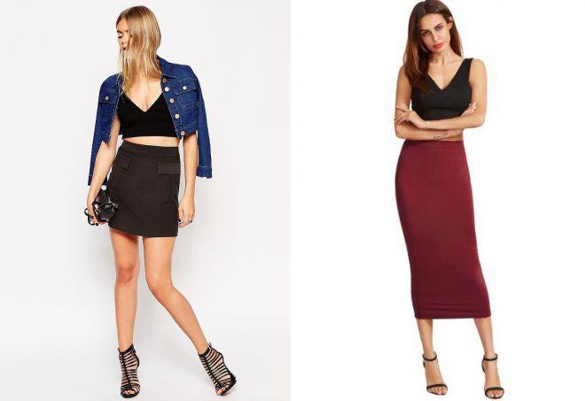 комплект юбка с высокой талией и топ