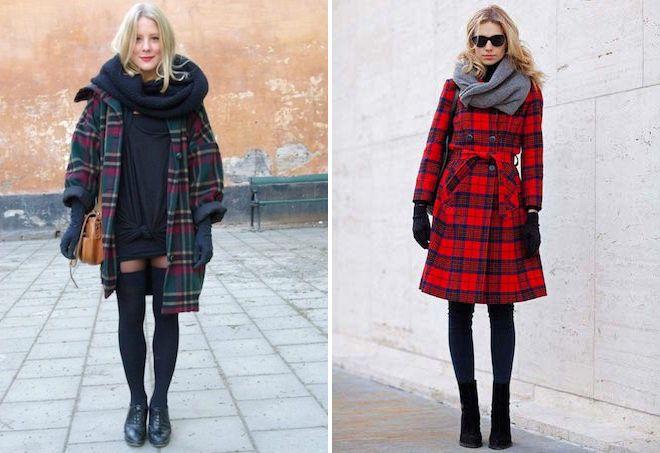 5fff5f549a9 С чем носить женское пальто в клетку – длинное