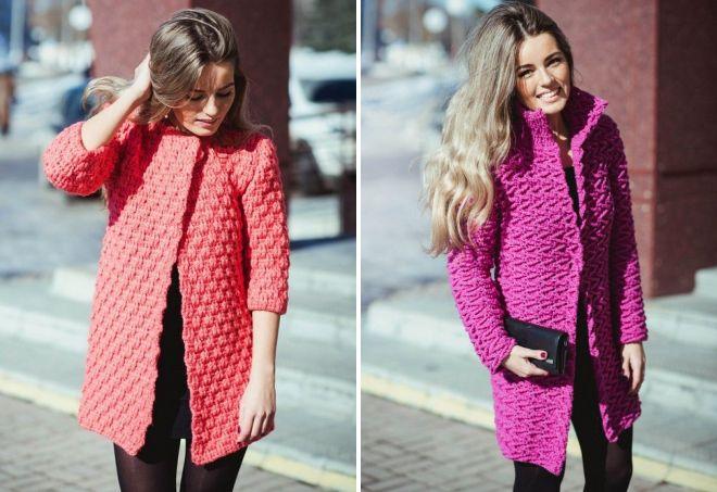 розовое вязаное пальто