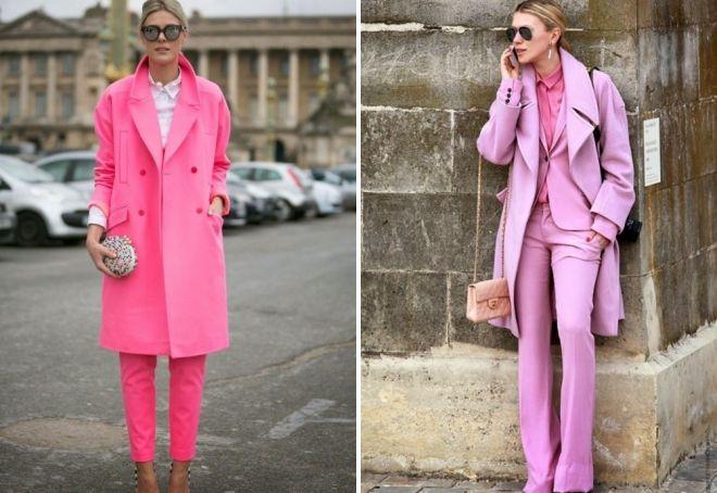 лук с розовым пальто