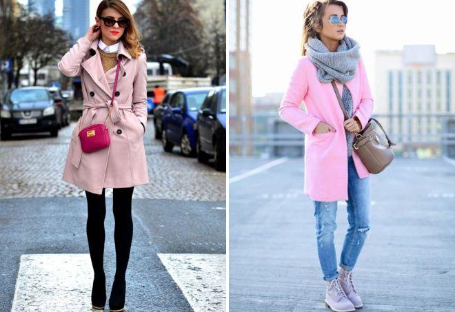 обувь к розовому пальто
