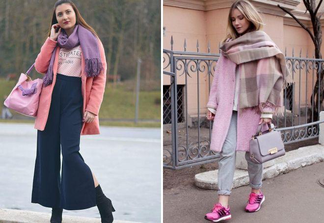 шарф к розовому пальто