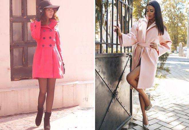 розовое осеннее пальто