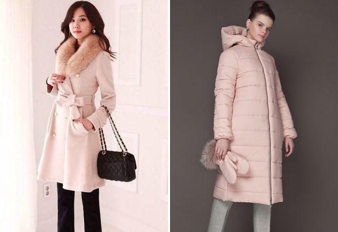 розовое зимнее пальто
