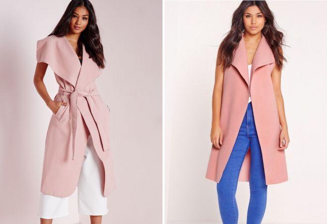 модное розовое пальто