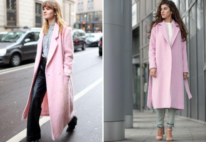 нежно розовое пальто