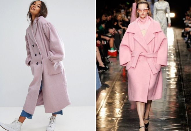 розовое пальто оверсайз