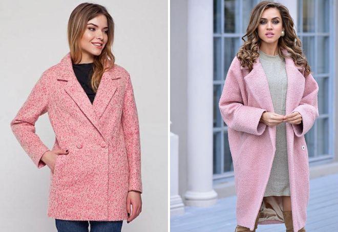 розовое пальто букле