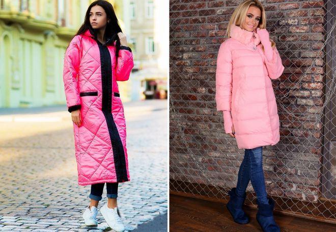 розовое стеганое пальто