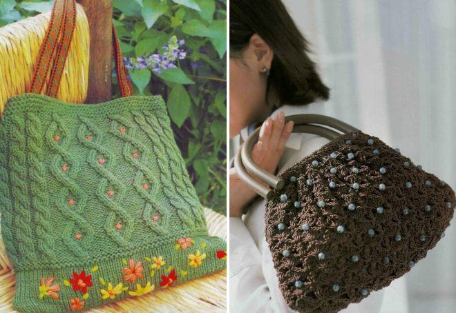 sacs brodés en tricot