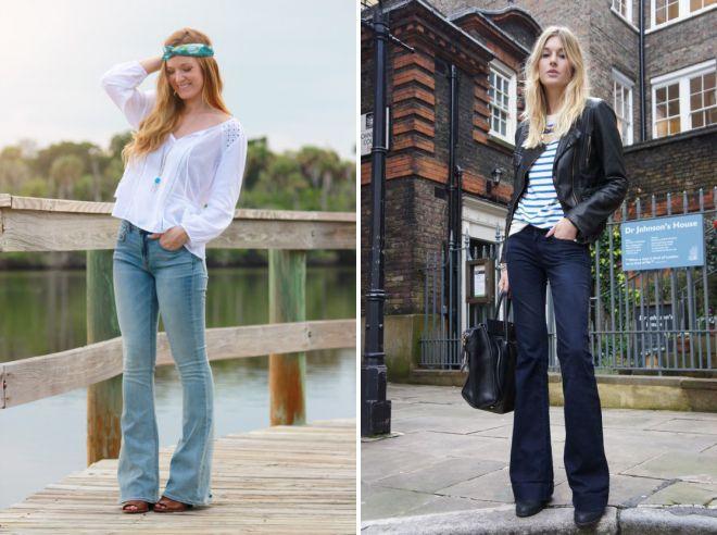 джинсы клеш с низкой талией