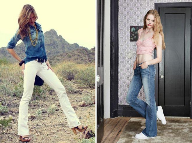 джинсы клеш с низкой талией 2018