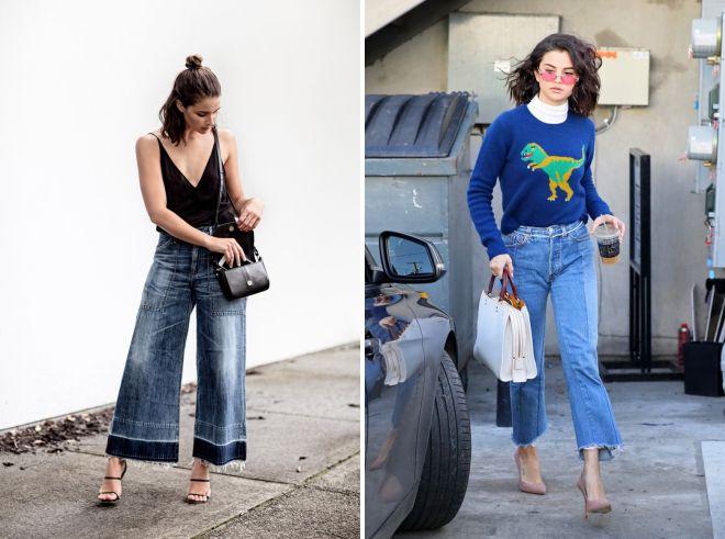 короткие джинсы клеш 2018