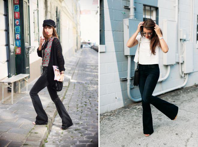 черные джинсы клеш 2018