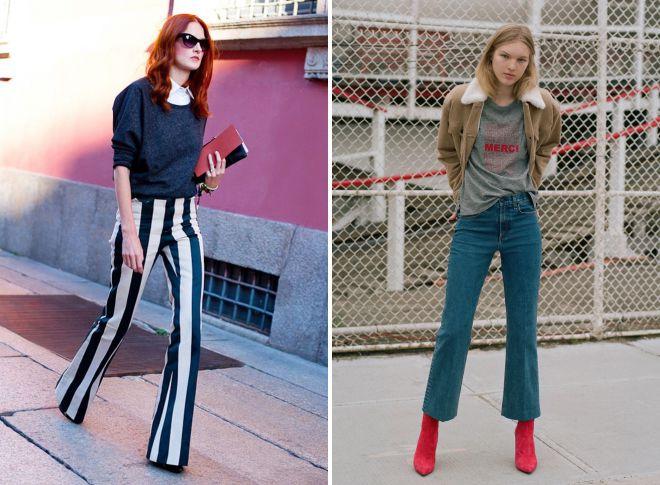 джинсы клеш со стрелками