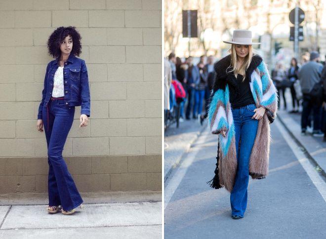 с чем носить джинсы клеш 2018