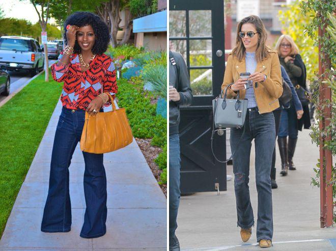 с чем носить расклешенные джинсы 2018