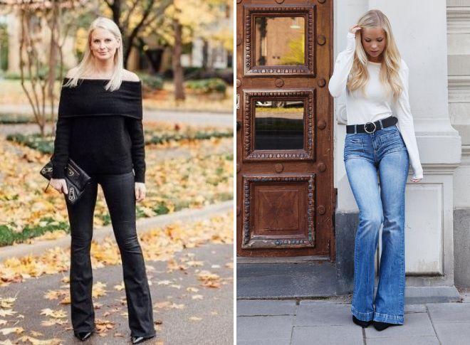 с чем носить расклешенные джинсы 2018 год